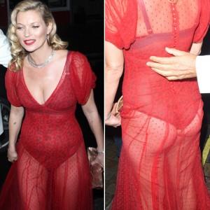 40-летняя Кейт Мосс продемонстрировала зад в полупрозрачном платье (Фото и Видео)