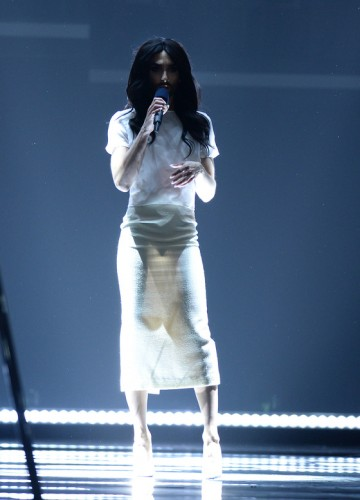 Conchita Wurst at the rehearsal of the Eurovision song contest 2015