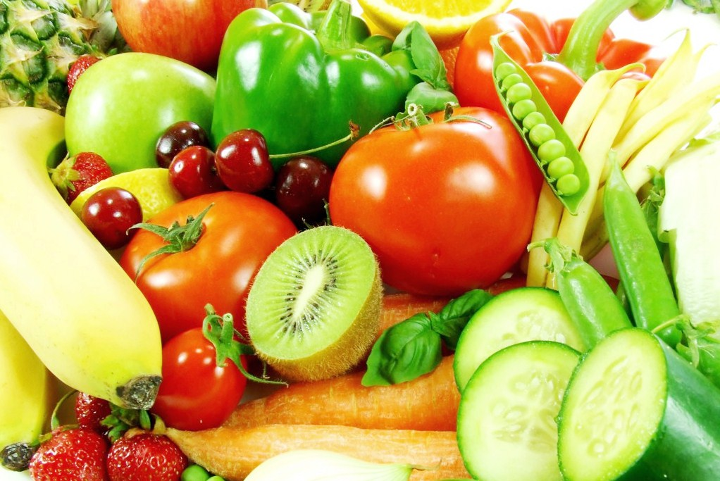 Variety of fresh fruit and vegetables