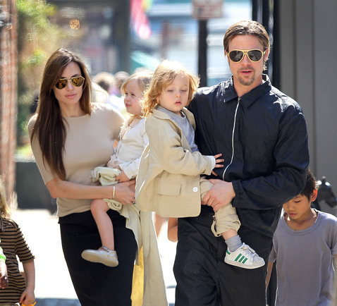 Brad Pitt and Angelina Jolie take their family for a walk in New Orleans