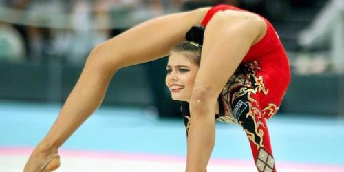 European champion Alina Kabaeva of Russia strikes