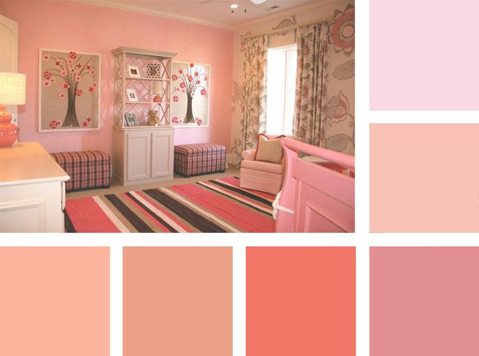 Сочетание цветов в интерьере розовый и серый