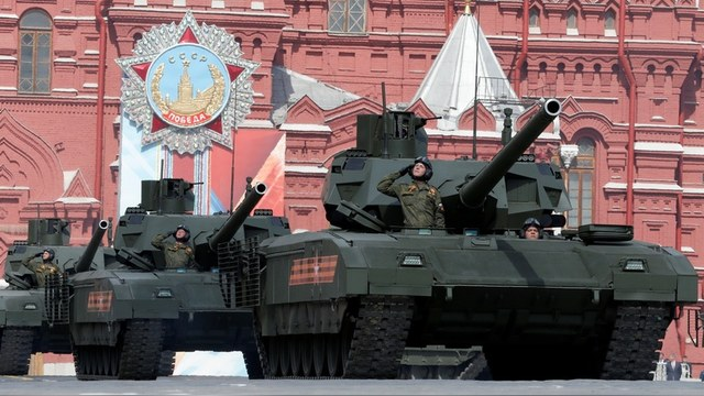Russian T-14 tanks drive during rehearsal for the Victory Day parade in Moscow