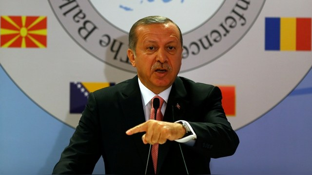 Turkish President Tayyip Erdogan makes a speech during the Balkan Countries Chiefs of Defence Conference in Istanbul
