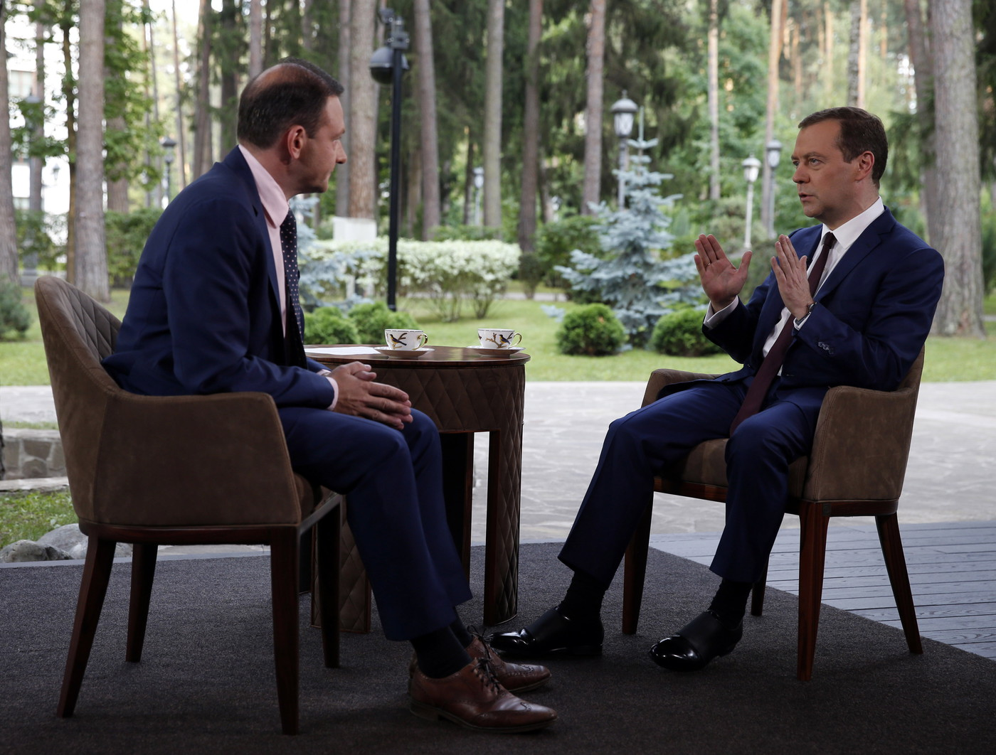 Prime minister Medvedev gives interview to Rossiya 1